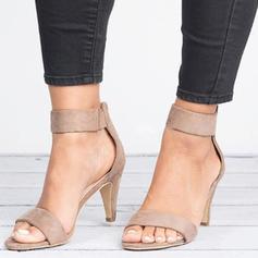 Vrouwen Stof Sandalen Pumps Peep Toe Hakken met Rits schoenen