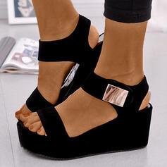 Vrouwen PU Wedge Heel Sandalen Plateau Wedges Peep Toe Hakken met Gesp schoenen