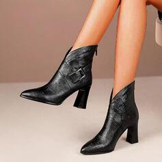 Vrouwen PU Chunky Heel Enkel Laarzen Puntige teen met Gesp Rits Vastrijgen schoenen