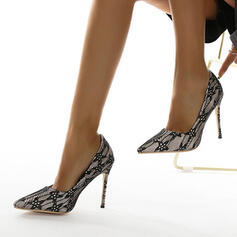 Vrouwen Kant Stiletto Heel Sandalen Pumps Closed Toe Puntige teen met Stitching Lace Hol-out schoenen