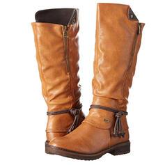 Vrouwen PU Low Heel Knie Lengte Laarzen Rijlaarzen Ronde neus met Rits Vastrijgen schoenen