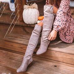 Vrouwen Suede Chunky Heel Over De Knie Laarzen Puntige teen Aantrekken met Ruched Effen kleur schoenen