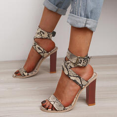 Vrouwen PU Chunky Heel Pumps Peep Toe Hakken met Gesp Hol-out schoenen