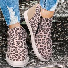 Vrouwen PU Flat Heel Enkel Laarzen Ronde neus Winterlaarzen met Dier Afdrukken Rits schoenen
