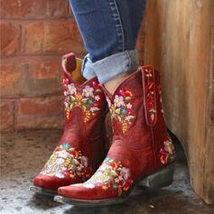 Vrouwen PU Chunky Heel Half-Kuit Laarzen Martin Boots Rijlaarzen Puntige teen met Geborduurd Floral Print schoenen