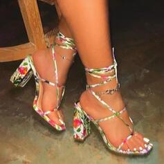 Vrouwen PU Chunky Heel Sandalen Pumps Peep Toe Flip Flops Vierkante teen met Gesp Hol-out Effen kleur schoenen