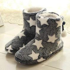 Vrouwen Doek Flat Heel Enkel Laarzen Snowboots Ronde neus Winterlaarzen met Vastrijgen Las kleur schoenen