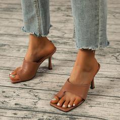 Vrouwen PU Stiletto Heel Pumps Peep Toe Teen Ring Hakken met Hol-out Gesplitste Stof schoenen