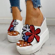 Vrouwen Jean Wedge Heel Sandalen Plateau Wedges Peep Toe Slippers Hakken met Hol-out Floral Print schoenen