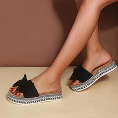 Vrouwen PU Flat Heel Sandalen Flats Plateau Peep Toe Slippers met strik Hol-out schoenen