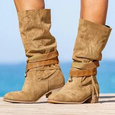 Vrouwen PU Chunky Heel Laarzen Half-Kuit Laarzen Ronde neus met Vastrijgen schoenen