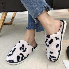 Vrouwen Nep bont Flat Heel Closed Toe Slippers met Dier Afdrukken Colorblock schoenen