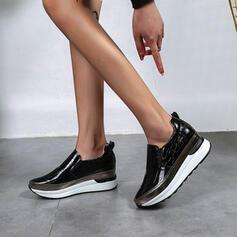 Vrouwen PU Wedge Heel Laarzen Enkel Laarzen met Dier Afdrukken Colorblock schoenen