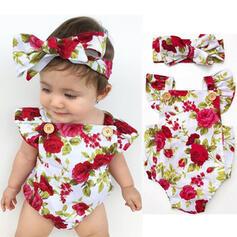 2 stuks babymeisje strik Bloemen Print Katoen Setformaat