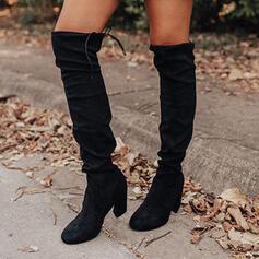 Vrouwen Suede PU Chunky Heel Over De Knie Laarzen Ronde neus met Vastrijgen Effen kleur schoenen