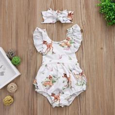 2 stuks babymeisje strik Spotprent Dier Print Katoen Setformaat