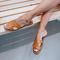 Vrouwen PU Flat Heel Sandalen Flats Peep Toe Slippers met Effen kleur schoenen