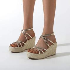 Vrouwen PU Wedge Heel Espadrille Heel Sandalen Pumps Plateau Wedges Peep Toe met Gesp Hol-out schoenen