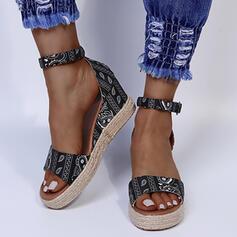 Vrouwen PU Wedge Heel Sandalen Wedges Ronde neus met Gesp schoenen