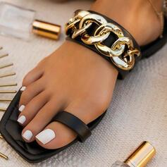 Vrouwen PU Flat Heel Sandalen Slippers Vierkante teen met Keten schoenen