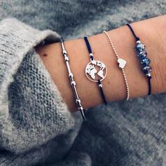 In de mode Kaart ontwerp Legering Zirkoon met Hart Etiket Armbanden (Set van 4)