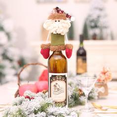 Kerstmis vrolijk kerstfeest Sneeuwman Rendier de kerstman Niet-geweven stof Wijnfles Cover