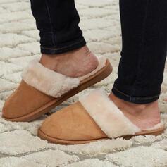 Vrouwen Suede Flat Heel Flats Ronde neus met Nep bont Las kleur schoenen