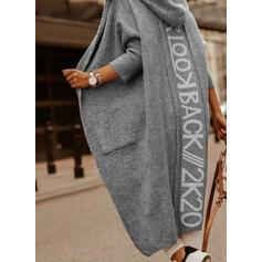 Print Pocket Met capuchon Casual Vest