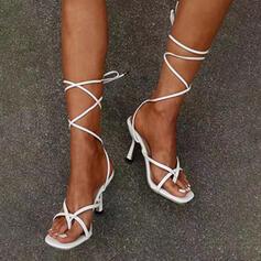 Vrouwen PU Stiletto Heel Pumps Peep Toe Hakken met Vastrijgen Hol-out Verband schoenen