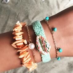 Mooi Gelaagd Legering Imitatie Parel Vrouwen Dames Armbanden 4 STUKS