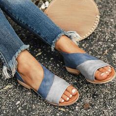 Vrouwen PU Flat Heel Sandalen Flats Peep Toe Slippers met Hol-out Las kleur schoenen