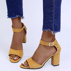 Vrouwen Suede Chunky Heel Sandalen Hakken Puntige teen met Gesp schoenen