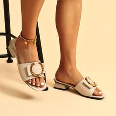 Vrouwen PU Chunky Heel Sandalen Pumps Peep Toe Slippers Hakken met Strass Effen kleur schoenen