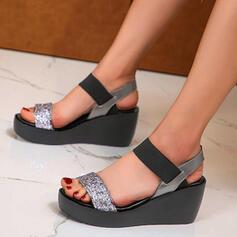 Vrouwen PU Wedge Heel Sandalen Plateau Wedges Peep Toe Slippers Hakken met Strass Hol-out schoenen