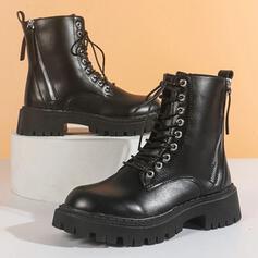 Vrouwen PU Chunky Heel Enkel Laarzen Ronde neus met Vastrijgen Ademend schoenen