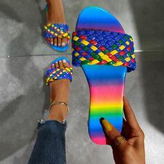 Vrouwen PU Flat Heel Sandalen Slippers Ronde neus met Gevlochten Riempje Kriskras schoenen