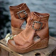 Vrouwen Kunstleer Wedge Heel Sandalen Plateau Wedges Hakken met Gesp Hol-out schoenen