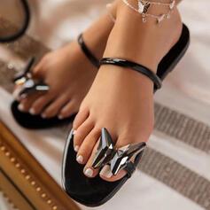 Vrouwen Kunstleer Flat Heel Sandalen Flats Peep Toe Slippers Teen Ring Ronde neus met strik schoenen