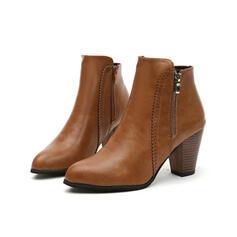 Vrouwen Kunstleer Chunky Heel Enkel Laarzen Puntige teen met Rits Effen kleur schoenen