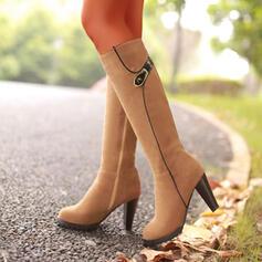 Vrouwen Suede Cone Heel Knie Lengte Laarzen Ronde neus met Rits schoenen