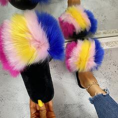 Vrouwen Suede Flat Heel Sandalen Plateau Peep Toe Slippers met Hol-out Bont schoenen