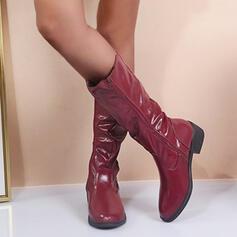 Vrouwen PU Chunky Heel Knie Lengte Laarzen Ronde neus met Rits Effen kleur schoenen