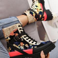 Vrouwen PU Chunky Heel Martin Boots Ronde neus met Lovertje Vastrijgen schoenen