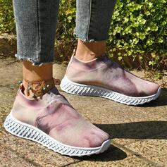 Vrouwen Doek Mesh Flat Heel Flats Ronde neus Dans Sneakers Aantrekken met Las kleur schoenen