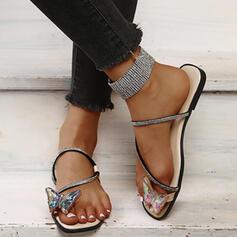 Vrouwen Microfiber Flat Heel Sandalen Flats Peep Toe Slippers Teen Ring met Hol-out Butterfly schoenen