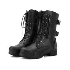 Vrouwen PU Low Heel Half-Kuit Laarzen Martin Boots Ronde neus met Vastrijgen Effen kleur schoenen