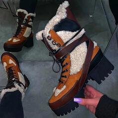 Vrouwen PU Chunky Heel Martin Boots Ronde neus met Vastrijgen Las kleur schoenen