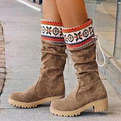Vrouwen PU Flat Heel Half-Kuit Laarzen Ronde neus Winterlaarzen met Vastrijgen Las kleur schoenen