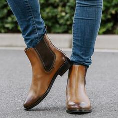 Vrouwen Kunstleer Low Heel Half-Kuit Laarzen Ronde neus Chelsea laarzen met Gesp schoenen