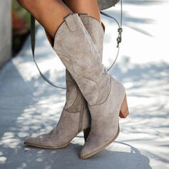 Vrouwen Suede Cone Heel Half-Kuit Laarzen Winterlaarzen met Rits Effen kleur schoenen